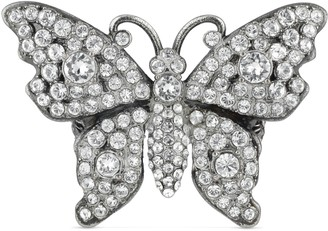 Gucci Crystal studded butterfly ring in metal