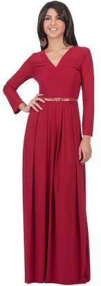 Koh Koh Women's V-Neck Long Sleeve Elegant Cockatil Evening Formal Maxi Dress