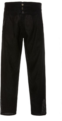 BODE High-Waisted Cropped Linen Pants