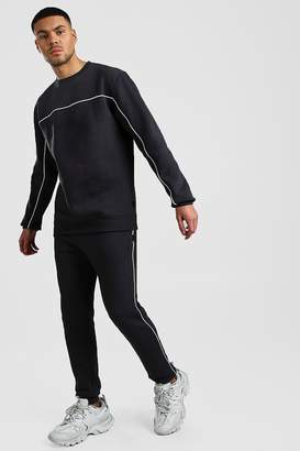 BoohoomanBoohooMAN Mens Grey jumper Tracksuit With Contrast Piping, Grey