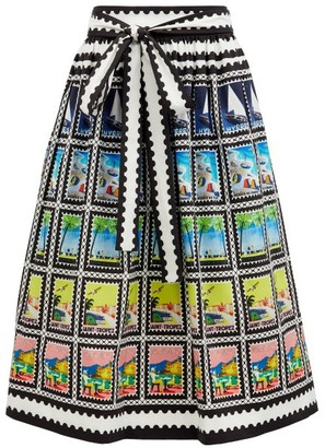 Mary Mare - Paloma Postage Stamp-print Cotton-blend Midi Skirt - Black Print