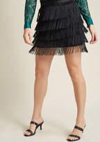 BB Dakota Sass Times Acceleration Fringe Mini Skirt in 8 - A-line Skirt Short Length by from ModCloth