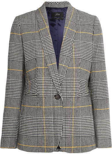 J.Crew Parke Prince Of Wales Checked Tweed Blazer - Black