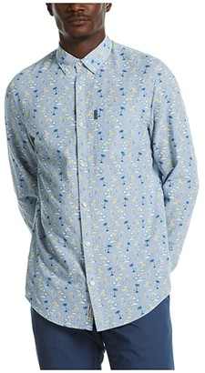 Original Penguin Linen Blend Tonal Palm Print Long Sleeve Button-Down Shirt (Bright White) Men's Clothing