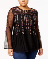 Style&Co. Style & Co Plus Size Embroidered Sheer-Sleeve Top, Created for Macy's