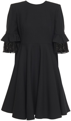 Alexander McQueen Lace-trimmed Ruffled Wool-blend Crepe Mini Dress