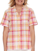 Alfred Dunner Tropical Punch Short-Sleeve Plaid Burnout Blouse - Petite