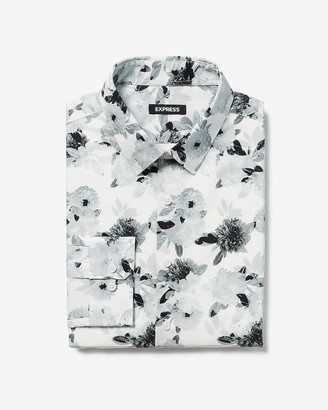 Express Extra Slim Floral Cotton Dress Shirt