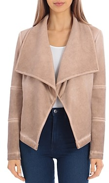Bagatelle Washed Scuba Faux-Suede Drape Jacket