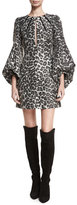 Andrew Gn Leopard-Print Blouson-Sleeve Cocktail Dress