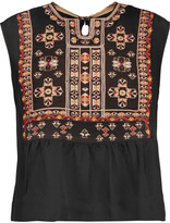 Isabel Marant Russ embroidered silk crepe de chine top