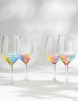 Marks and Spencer Set of 4 Rainbow Picnic Wine Glasses