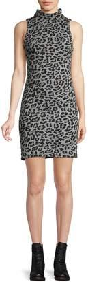 Design Lab Leopard-Print Mockneck Mini Dress