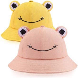 Syhood 2 Pieces Frog Bucket Hat Cute Fisherman Cotton Hat Frog Bucket Sun Protection Cap Wide Brim Fisherman Hat for Adults (Green)