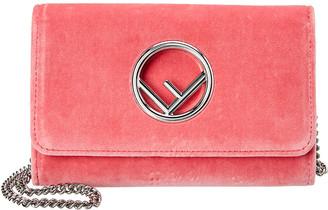 Fendi Ff Logo Mini Velvet Wallet On Chain