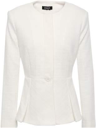 DKNY Pleated Cotton-blend Cloque Peplum Jacket