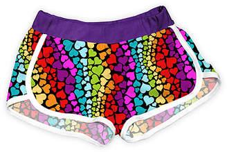 Urban Smalls Girls' Casual Shorts Multi/Purple - Purple & Black Rainbow Hearts Shorts - Toddler & Girls