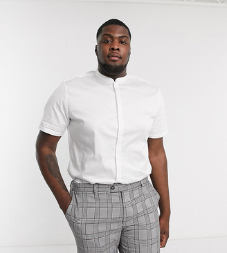 ASOS DESIGN Plus slim fit sateen shirt with mandarin collar in white with short sleeves