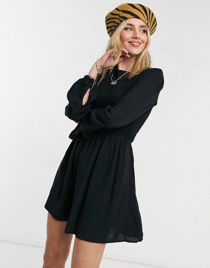 Cotton On Cotton:On long sleeve mini dress in black