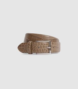 Reiss Milly - Leather Crocodile Patterned Belt in Neutral