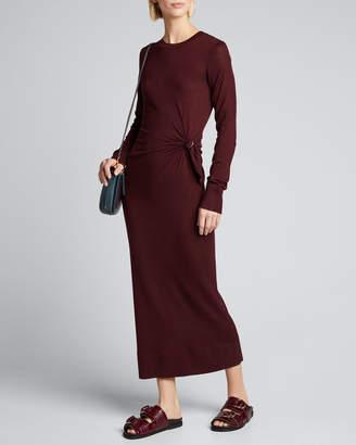 Sies Marjan Wool Long-Sleeve Crew Side-0Gathered Dress