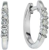 1/5 CT TW Diamond 10K White Gold Small Hoop Earrings by Ax Jewelry