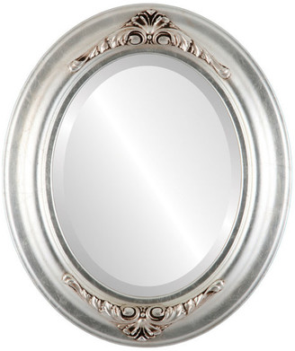 """The Oval And Round Mirror Store Winchester Framed Oval Mirror in Silver Leaf w/ Brown Antique, 23""""x29"""""""