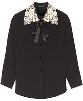 Marc Jacobs Guipure Lace-trimmed Silk Crepe De Chine Shirt - Black