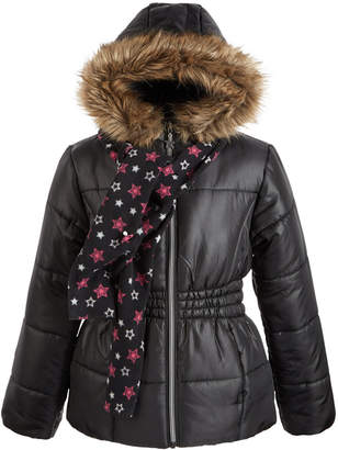 S. Rothschild Big Girls Hooded Jacket With Faux-Fur Trim & Scarf