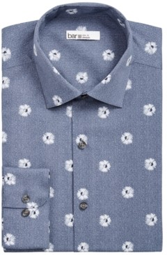 Bar III Men's Slim-Fit Performance Stretch Daisy-Print Herringbone Dress Shirt, Created for Macy's