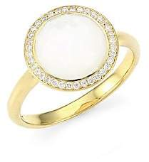 Ippolita Women's Lollipop Small 18K Yellow Gold, Mother-Of-Pear & Diamond Ring