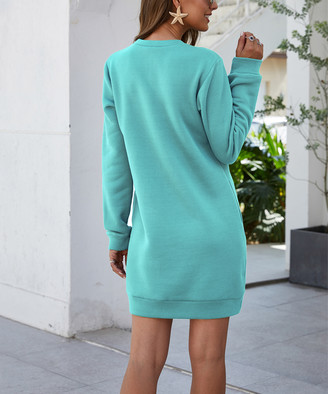 Suvimuga Women's Sweater Dresses Green - Green Side Pocket Shift Dress - Women