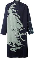 Yohji Yamamoto patterned slouch coat