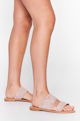 Nasty Gal Womens Born to Mule Wide Fit Faux Suede Flat Sandals - Nude