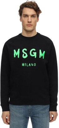 MSGM Vinyl Logo Print Cotton Jersey Crewneck