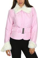 Pink Faux Fur-Trim Belted Jacket