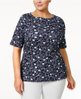 Charter Club Plus Size Cotton Floral-Print Top, Created for Macy's