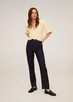 MANGO Knit short cardigan pastel yellow - S - Women