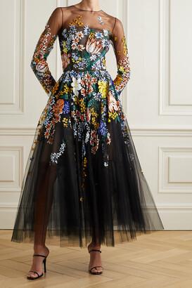 OSCAR DE LA RENTA - Embellished Floral-print Tulle Midi Dress - Black