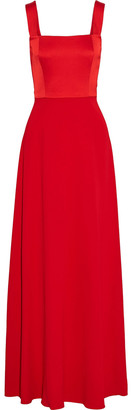 Mikael Aghal Satin-paneled Crepe Gown
