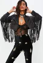 Missguided Petite Black Faux Suede Fringed Cropped Jacket