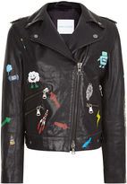 Mira Mikati Black Hand Painted Graphic Leather Jacket