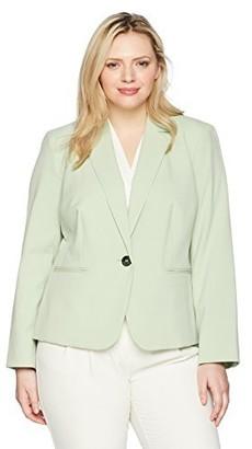 Nine West Women's Size Plus BI Stretch 1 Button Jacket with Notch Collar