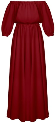 Gala Deep Red Off Shoulder Maxi Evening Dress