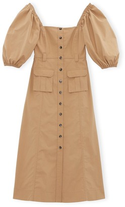 Ganni Ripstop Cotton Chino Dress in Tannin