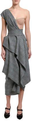 Dolce & Gabbana One-Shoulder Tartan Bustier Dress