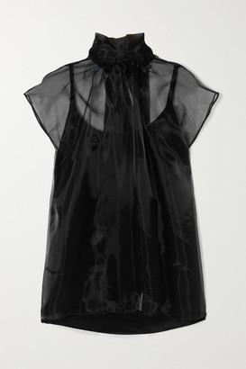 Prada Pussy-bow Silk-organza Blouse - Black