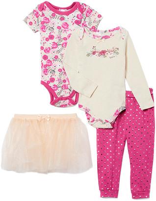 Tahari Baby Girls' Infant Bodysuits BEIGE - Beige Floral Long-Sleeve Bodysuit Set - Infant