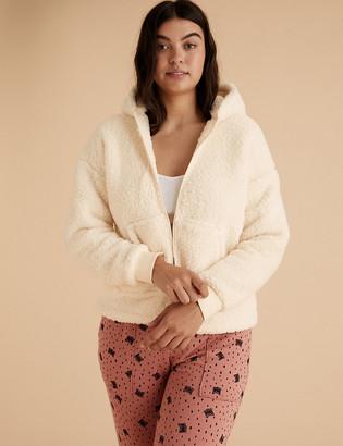 Marks and Spencer Fleece Hooded Zip Up Short Jacket