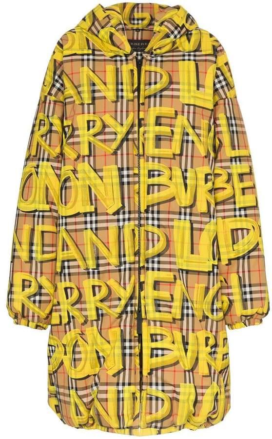 Burberry graffiti check puffer coat